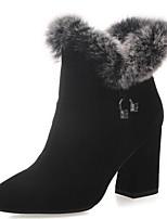 Недорогие -Жен. Fashion Boots Наппа Leather Зима Ботинки На толстом каблуке Закрытый мыс Ботинки Черный / Серый / Желтый