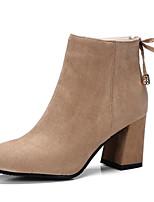 Недорогие -Жен. Комфортная обувь Замша Наступила зима Ботинки На толстом каблуке Ботинки Черный / Винный / Миндальный