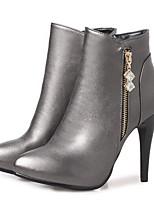 Недорогие -Жен. Fashion Boots Синтетика Осень Ботинки На шпильке Закрытый мыс Ботинки Черный / Темно-серый / Красный