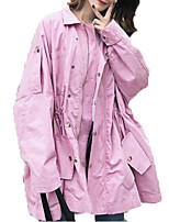 Недорогие -Жен. Спорт Уличный стиль Обычная Тренч, Однотонный С отворотом Длинный рукав Полиэстер Розовый M / L / XL