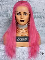 Недорогие -Не подвергавшиеся окрашиванию Полностью ленточные Парик Бразильские волосы Шелковисто-прямые Парик Глубокое разделение / С конским хвостом 150% с детскими волосами / Гладкие / Лучшее качество Розовый