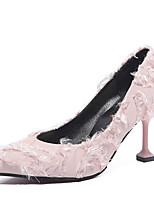 Недорогие -Жен. Балетки Полиуретан Наступила зима На каждый день Обувь на каблуках На каблуке-рюмочке Заостренный носок Пух Белый / Черный / Розовый / Свадьба / Повседневные