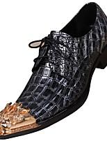 baratos -Homens Sapatos de couro Pele Napa Primavera Formais Oxfords Não escorregar Preto / Festas & Noite