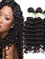 Недорогие -3 Связки Перуанские волосы Крупные кудри 8A Натуральные волосы Необработанные натуральные волосы Человека ткет Волосы Удлинитель Пучок волос 8-28 дюймовый Черный Естественный цвет