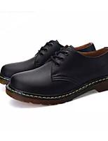 baratos -Homens Sapatos Confortáveis Pele Outono Oxfords Preto / Vinho / Castanho Escuro