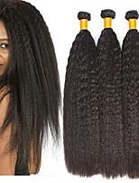 billiga -3 paket Peruanskt hår Yaki Rakt Äkta hår / Obehandlat Mänsligt hår Presenter / Human Hår vävar / bunt hår 8-28 tum Naurlig färg Hårförlängning av äkta hår Cosplay / Bästa kvalitet / Ny ankomst