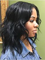 Недорогие -человеческие волосы Remy Необработанные натуральные волосы Полностью ленточные Парик Бразильские волосы Волнистый Черный Парик Стрижка боб Короткий Боб 130% Плотность волос / Природные волосы