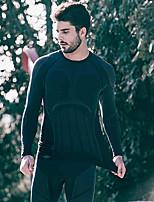Недорогие -SANTIC Муж. Длинный рукав Белье для велоспорта - Черный Велоспорт Наборы одежды, Дышащий, Сохраняет тепло Однотонный / Эластичность / Профессиональная технология выполнения швов / Плотное облегание