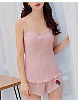 abordables -Femme Sexy Costumes Vêtement de nuit Coton Dos Nu, Couleur Pleine / Sans Bretelles