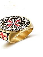 billiga -Herr Klar Kubisk Zirkoniumoxid Klassisk Ring - Titanstål Kors Mode 9 / 10 / 11 / 12 Guld Till Party Dagligen