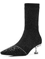 Недорогие -Жен. Fashion Boots Синтетика Осень Ботинки На шпильке Закрытый мыс Ботинки Серый / Желтый / Розовый