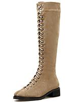 Недорогие -Жен. Fashion Boots Синтетика Наступила зима Английский Ботинки На толстом каблуке Сапоги до колена Черный / Бежевый / Для вечеринки / ужина