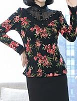 Недорогие -женская выходная тонкая футболка - цветочная шея экипажа