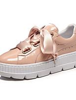 Недорогие -Жен. Комфортная обувь Лакированная кожа Весна & осень Милая Кеды Микропоры Круглый носок Ленты Черный / Розовый
