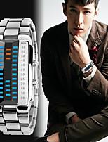 Недорогие -Муж. Спортивные часы Японский Цифровой 30 m Защита от влаги Календарь Секундомер Нержавеющая сталь Группа Цифровой Кольцеобразный Мода Черный / Серебристый металл - Черный Серебряный / Два года