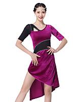baratos -Dança do Ventre Vestidos Mulheres Treino Com Transparência / Flanela Miçangas / Cristal / Strass Meia Manga Caído Vestido