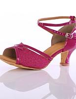 Недорогие -Жен. Обувь для латины Лакированная кожа На каблуках Планка Кубинский каблук Персонализируемая Танцевальная обувь Пурпурный