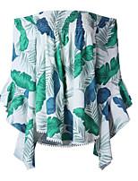 Недорогие -женская свободная футболка - цветочная с плеч