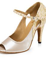 abordables -Femme Chaussures Latines Satin Talon Fantaisie Mince haut talon Chaussures de danse Chair
