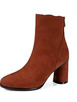 Недорогие -Жен. Fashion Boots Замша Осень Ботинки На толстом каблуке Закрытый мыс Ботинки Черный / Желтый