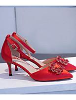Недорогие -Жен. Комфортная обувь Сатин Лето Свадебная обувь На шпильке Серебряный / Красный / Миндальный / Свадьба