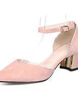 Недорогие -Жен. Комфортная обувь Замша Весна Обувь на каблуках На толстом каблуке Черный / Розовый / Хаки