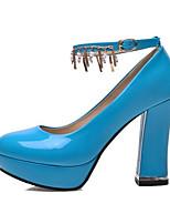 baratos -Mulheres Stiletto Couro Ecológico Verão Saltos Salto Robusto Preto / Fúcsia / Azul Real