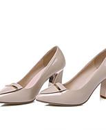 Недорогие -Жен. Балетки Лакированная кожа Весна Обувь на каблуках На толстом каблуке Черный / Миндальный