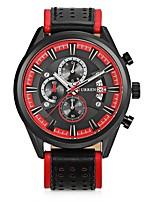 Недорогие -CURREN Муж. Спортивные часы Японский Японский кварц 30 m Защита от влаги Календарь Повседневные часы Кожа Группа Аналоговый На каждый день Мода Черный / Коричневый - Черный / Красный Коричневый