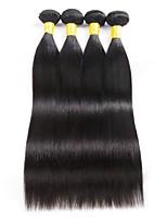 Недорогие -4 Связки Малазийские волосы Прямой Натуральные волосы Человека ткет Волосы / Удлинитель / Пучок волос 8-28 дюймовый Нейтральный Естественный цвет Ткет человеческих волос Машинное плетение
