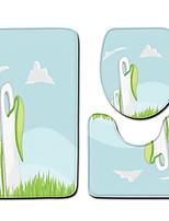 Недорогие -3 предмета Мультяшная тематика Коврики для ванной 100 г / м2 полиэфирный стреч-трикотаж Креатив Круглый / Прямоугольная Ванная комната Очаровательный