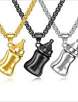 Недорогие -Муж. Толстая цепь Ожерелья с подвесками - Позолота, нержавеющий Золотой, Черный, Серебряный 55 cm Ожерелье Бижутерия 1шт Назначение Свадьба, Повседневные