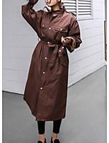 Недорогие -Жен. Повседневные Длинная Тренч, Однотонный Воротник-стойка Длинный рукав Полиэстер Коричневый M / L / XL