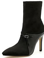 Недорогие -Жен. Fashion Boots Синтетика Наступила зима Английский Ботинки На шпильке Сапоги до середины икры Черный / Для вечеринки / ужина