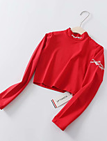 abordables -t-shirt femme en coton lâche - col roulé géométrique