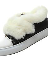 baratos -Mulheres Sapatos Confortáveis Camurça Outono Casual Tênis Salto Baixo Branco / Preto