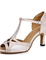 baratos -Mulheres Sapatos de Dança Latina Cetim Salto Pedrarias Salto Carretel Sapatos de Dança Nú