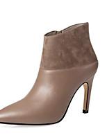 Недорогие -Жен. Fashion Boots Наппа Leather Осень Ботинки На шпильке Закрытый мыс Ботинки Черный / Коричневый