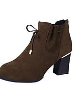Недорогие -Жен. Fashion Boots Замша Зима Ботинки На толстом каблуке Круглый носок Ботинки Черный / Кофейный