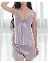 abordables -Asymétrique Bustiers Correspondants Pyjamas Femme Couleur Pleine / Sexy