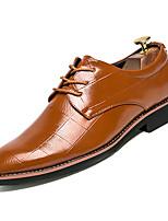 Недорогие -Муж. Комфортная обувь Полиуретан Осень Деловые Туфли на шнуровке Нескользкий Белый / Черный / Желтый
