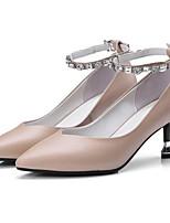 Недорогие -Жен. Комфортная обувь Наппа Leather Весна Обувь на каблуках На шпильке Черный / Красный / Миндальный