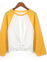 abordables -Tee-shirt Femme, Couleur Pleine Plissé Basique Noir & Blanc