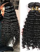 Недорогие -3 Связки Малазийские волосы Крупные кудри Необработанные / Натуральные волосы Человека ткет Волосы / Удлинитель / Пучок волос 8-28 дюймовый Черный Естественный цвет Ткет человеческих волос