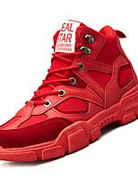 Недорогие -Муж. Комфортная обувь Полиуретан Осень На каждый день Кеды Дышащий Сапоги до середины икры Черный / Бежевый / Красный