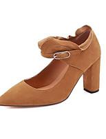Недорогие -Жен. Балетки Замша / Наппа Leather Лето Обувь на каблуках На толстом каблуке Черный / Верблюжий
