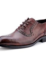 Недорогие -Муж. Официальная обувь Наппа Leather Осень Деловые / Английский Туфли на шнуровке Нескользкий Серый / Коричневый / Винный