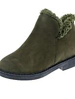 Недорогие -Жен. Fashion Boots Замша Зима На каждый день Ботинки На толстом каблуке Круглый носок Ботинки Черный / Военно-зеленный