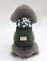 baratos -Cachorros Casacos Roupas para Cães Sólido / Côr Camuflagem Cinzento / Verde Algodão Ocasiões Especiais Para animais de estimação Unisexo Casual / Aquecimento