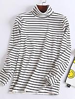 Недорогие -женская футболка - полосатая водолазка